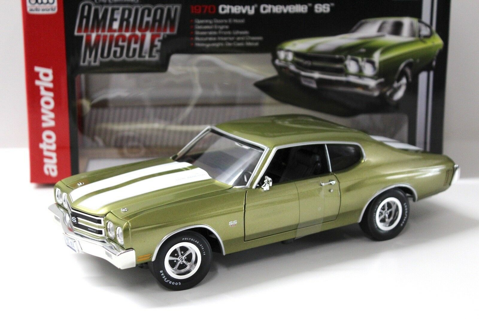 1 18 Auto World Chevrolet Chevelle SS454 Citrus green NEW bei PREMIUM-MODELCARS
