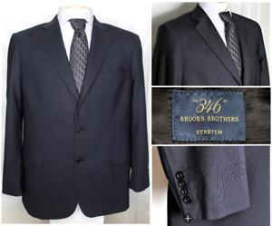 Mens-346-Brooks-Brothers-44R-Stretch-Wool-Dark-Blue-Suit-Blazer-Jacket-2-Button