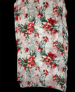 VINTAGE-DEADSTOCK-1930-039-S-WHITE-LARGE-FLORAL-SILK-CHIFFON-FABRIC-4-YDS-X-50-039-W