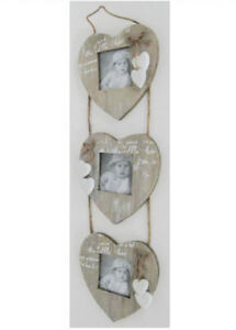 WALL HANGING PHOTO FRAMES 3 LOVE HEARTS DESIGN SHABBY CHIC WOOD