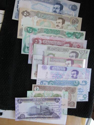 BANKNOTE SET OF SADDAM  MONEY 11 CRISP Never in Circulation UNCIRCULATED
