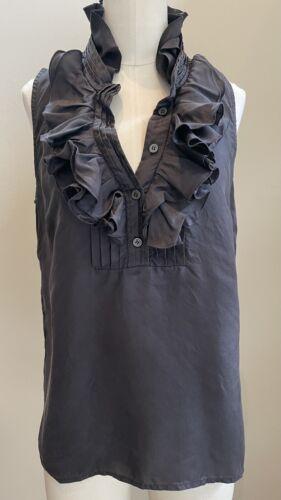 JCREW Frances ruffle silk sleeveless blouse