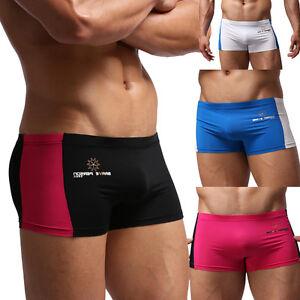 Fashion-Men-039-s-Boxer-Briefs-Patchwork-Swimming-Summer-Beach-Shorts-Trunks