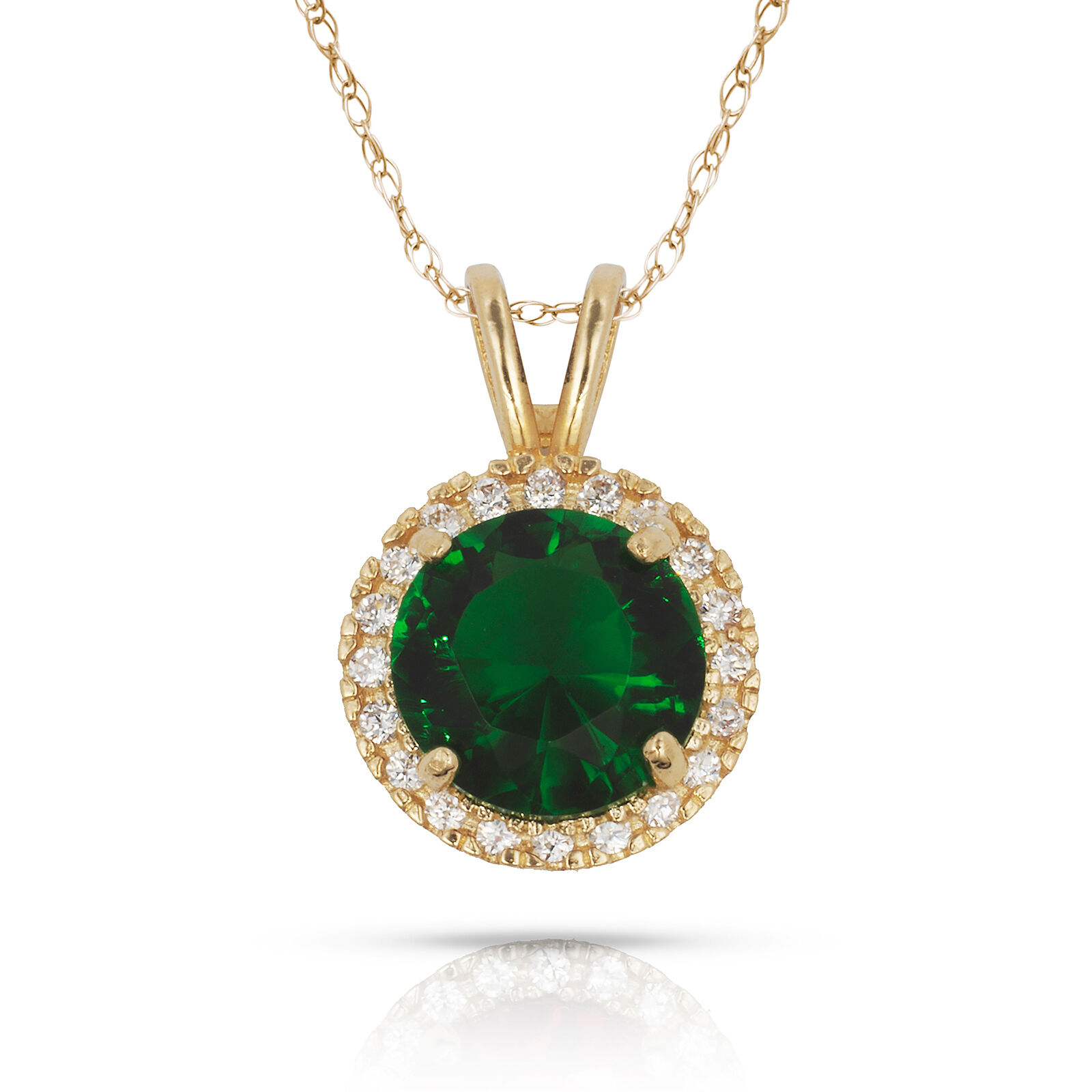 1.00CT 14K Yellow gold Halo Emerald Round Shape Basket Setting Pendant w  Chain