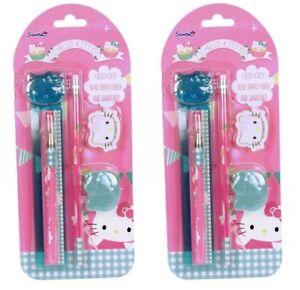 2x-Hello-Kitty-Schreibset-Lineal-Kugelschreiber-Radiergummi-Anspitzer-Bleistift