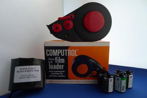 Nuevo feltless 35mm a granel Film Cargador KIT+25ft Plus X película 5 Cassettes vacíos