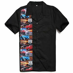 Men-Vintage-Casual-Route-66-Cars-Printed-Camp-Retro-Short-Sleeves-Shirts
