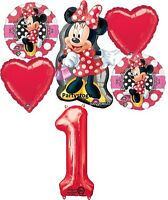 Minnie Mouse 1st Birthday Party Balloons Bouquet Decorations Red Mad About Me