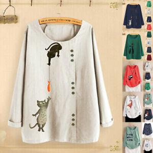 Plus-Size-Women-Cotton-Linen-Cat-Fish-Print-Long-Sleeve-Loose-Tops-Shirt-Blouse