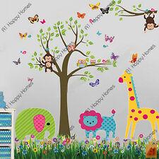 MONO Buhos Árbol Selva Animal Mariposas Pegatinas De Pared Niños Bebé GuarderíA