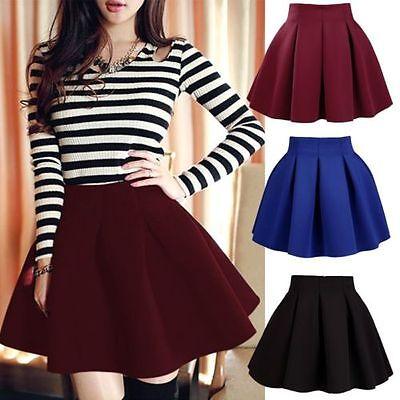 High Waist Skater Mini Skirt Plain Flared Pleated A-Line Short Sexy Dress KG
