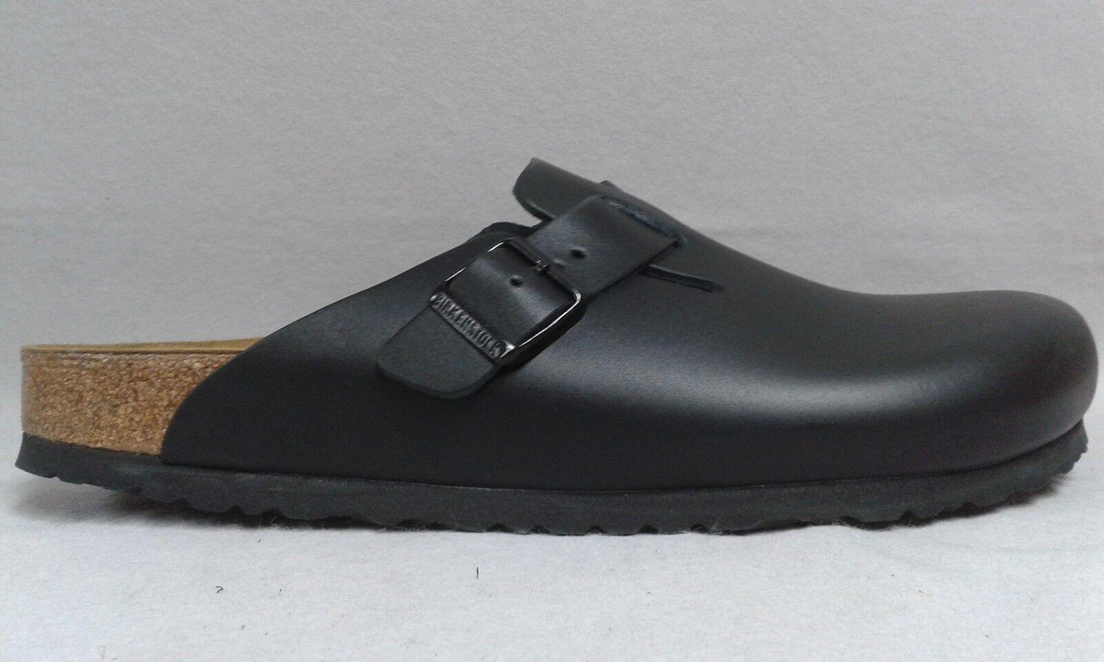 Birkenstock Clog Boston schwarz Leder Echteder Korkfußbett schmale Weite 9001