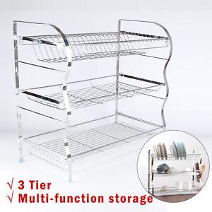 3-Tier-Chrome-Steel-Dish-Drainer-Cutlery-Rack-Organiser-Kitchen-Drip-Tray