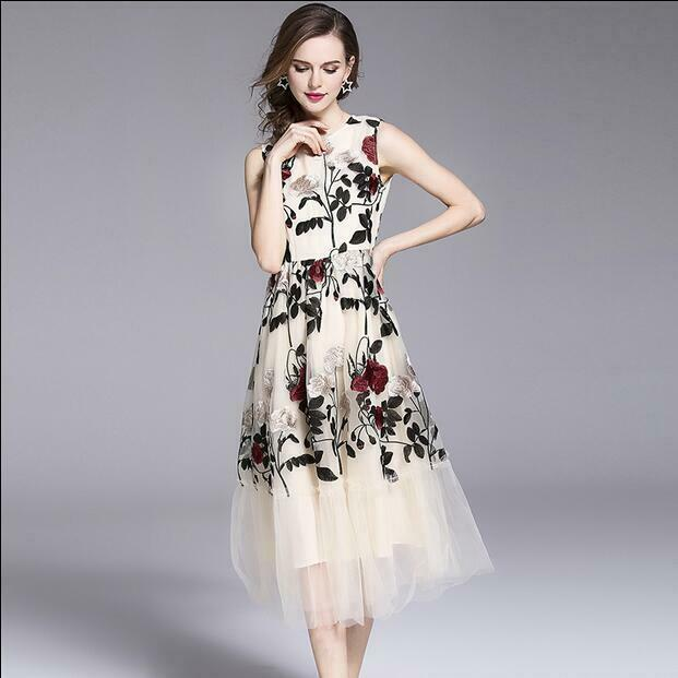 Designer Women Midi Dress Sleeveless Slim Fit High High High Waist Embroidery Round Collar 16f50d