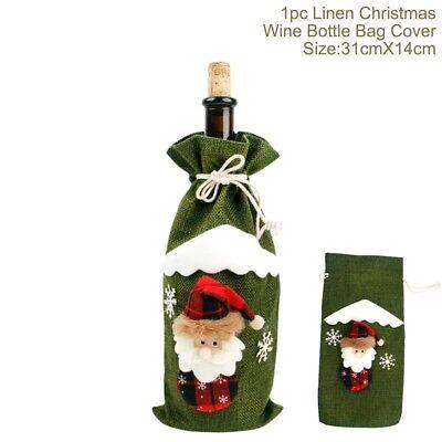 Noël Bouteille de Vin Housse Table Fête Déco Emballage Chapeau Père Capuchon