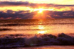 STUNNING-BEACH-WAVE-SUNSET-CANVAS-PICTURE-POSTER-PRINT-WALL-ART-UNFRAMED-1058