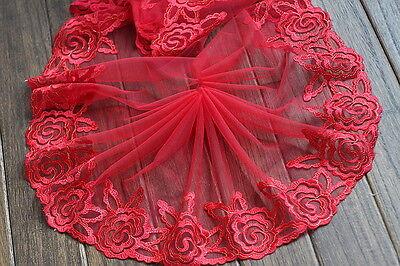 "2 Yards Lace Trim Red Gauze Embroidery Flower Wedding Fabric 9.05"" width"