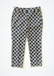 PRADA wool mix navy&cream checked cropped stretch pants - size 40 It.- trousers