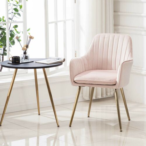 European Style Contemporary Style Pink Gold Metal Legs Velvet Dining Chairs