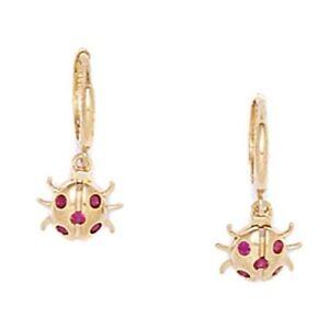 14K Yellow Gold Ladybug Ruby stud SCREW Back Earrings