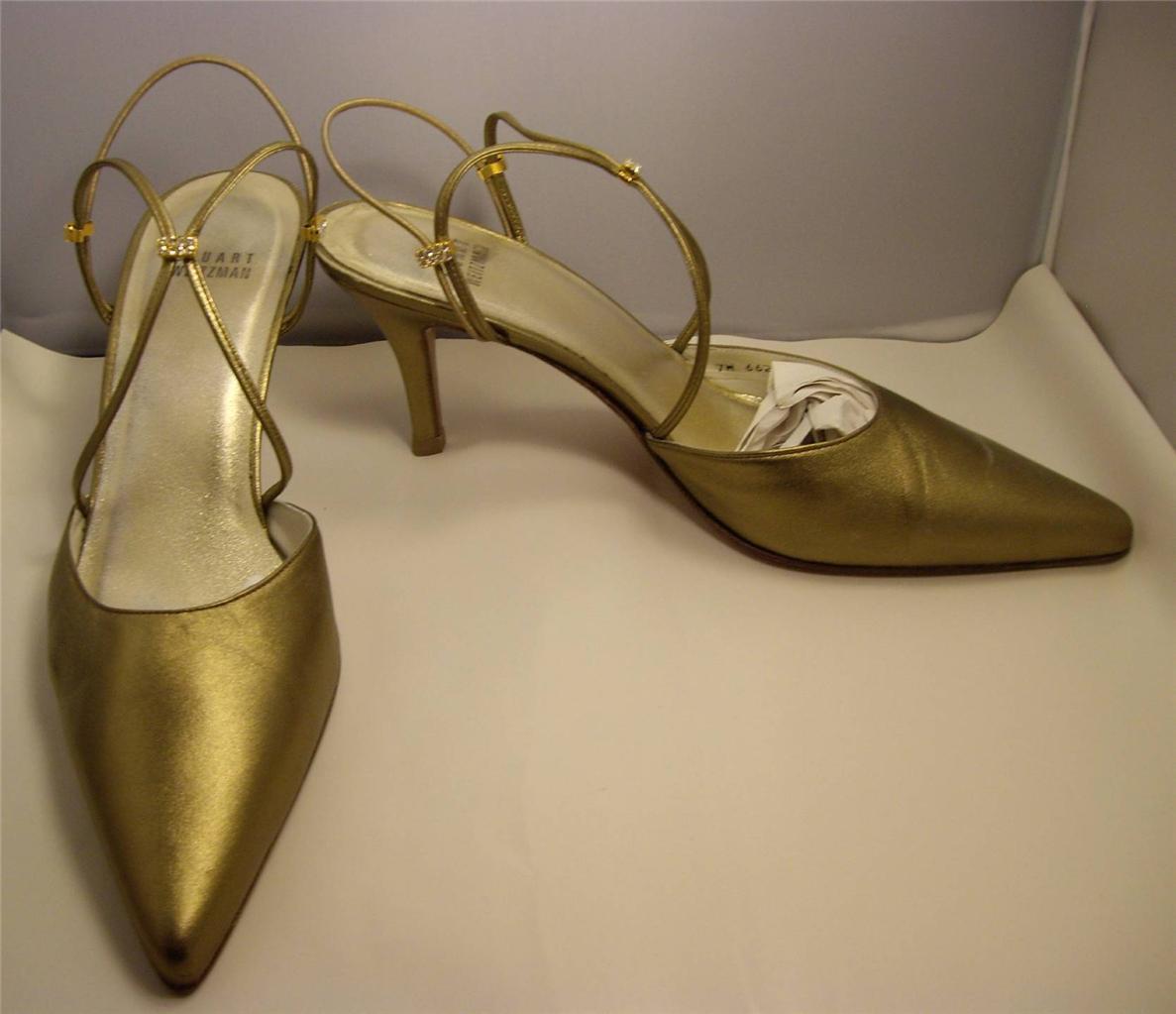 Stuart Weitzman Metallische Bronze Gold Strass Absätze Größe 9M