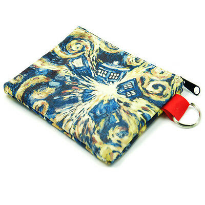 Hipster Coin Purse Doctor Who Tardis Explosion Style Zipper Wallet Key Pouch