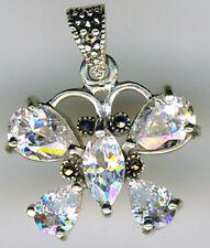 "925 Sterling Silver Cubic Zirconia & Marcasite Butterfly Pendant    Width (7/8"")"