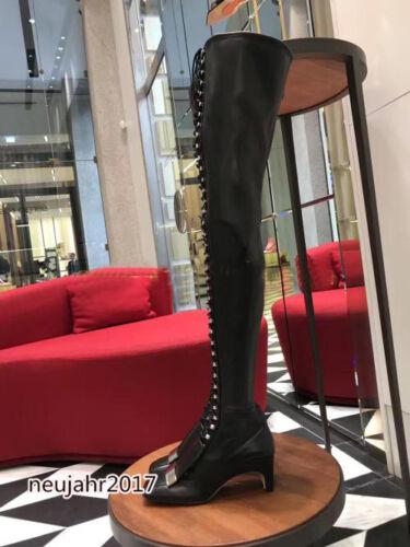 Blockabsatz Damenschuhe Stiefel Stiefeletten Nieten Schnürsenkel Overknee Schick