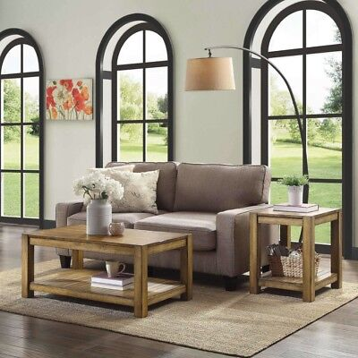 Merveilleux Coffee Table Set 2 End Tables Rustic Living Room Modern Farmhouse Brown  Wood 6091203252536 | EBay