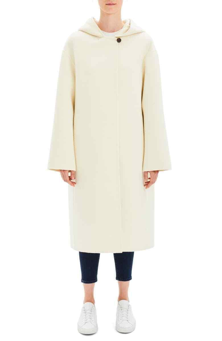 NWT Teorin Ren Duff Hood Wool Coat Ecru M  995