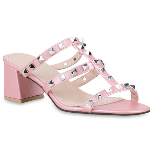 Damen Sandaletten Mules Leder-Optik Pantoletten Nieten Mid Heels 820750 Schuhe