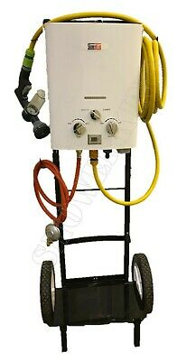 UK Seller LPG 6L Wall mounted Hot Horse Shower with regulator and gas hose.