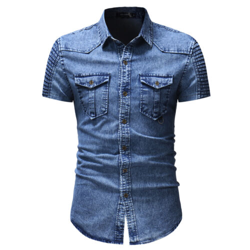 New Mens Shirts Short Sleeve Slim Fit Two Pockets Washed Denim Casual CD171