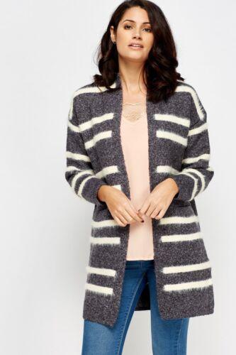 Les femmes Mono à Rayures Duster Tricot Poche Long Laine Épais Doux Mac Cardigan S M L XL