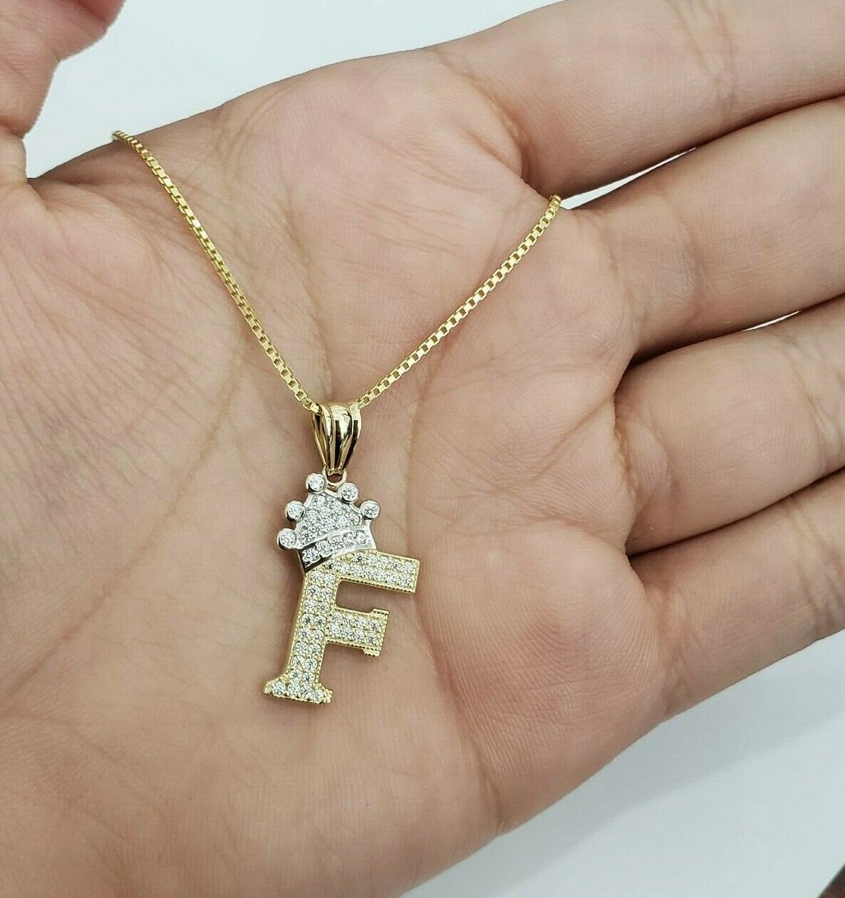 14k Yellow gold Crown Initial Alphabet Letter F Pendant Charm King Free Chain
