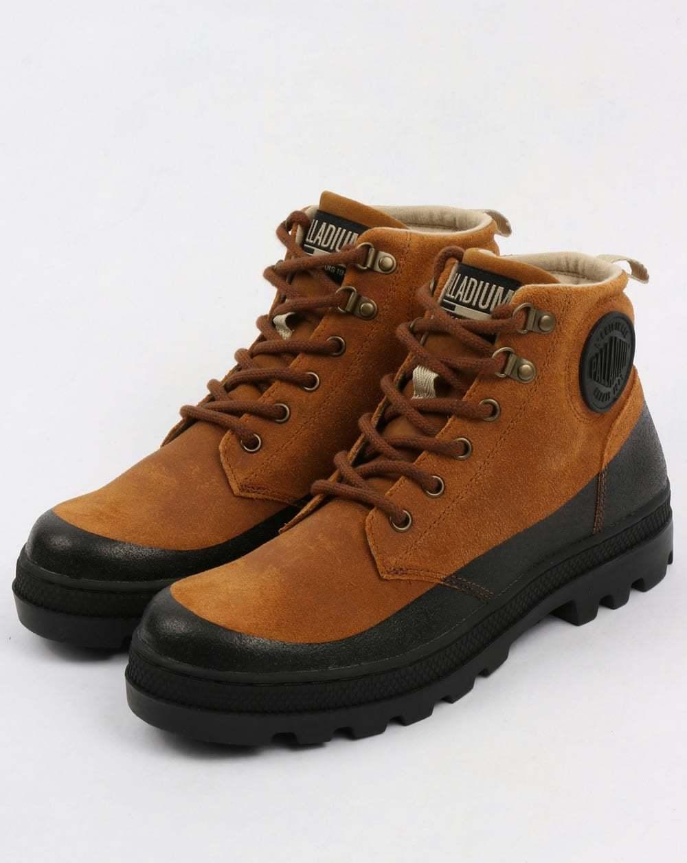 Zapatos de mujer baratos zapatos de mujer Palladium Pallabosse Bota para Excursionista en el amanecer y Negro de goma Engrasado Gamuza &