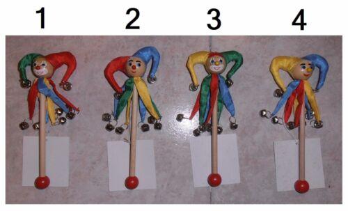 Sonaglio pagliaccio clown 8 campanelli bacchetta in legno per bambini cm 20