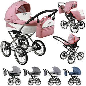 pram stroller buggy pushchair kinderwagen trend pepe classic retro style 3in1 ebay. Black Bedroom Furniture Sets. Home Design Ideas