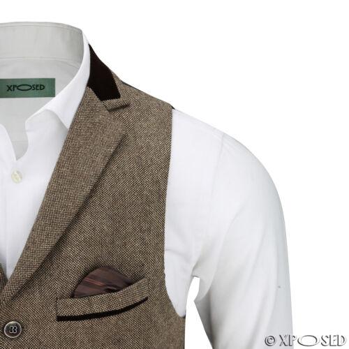Vintage pour homme tweed herringbone velours marron col coupe ajustée rétro gilet