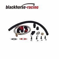 Black Turbo Oil Drain Return + Feed Line For T3 T4 T04e T60 T61 T70 Complete Kit
