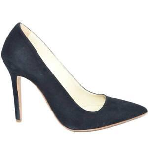 Scarpe donna alte decollete' nero in camoscio vera pelle a punta tacco a spillo