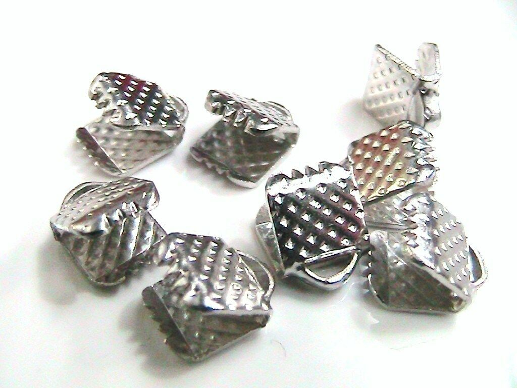 12 x Silver Plated Ribbon End Clasps 13mm x 8mm Findings Craft FREE UK P+P F85