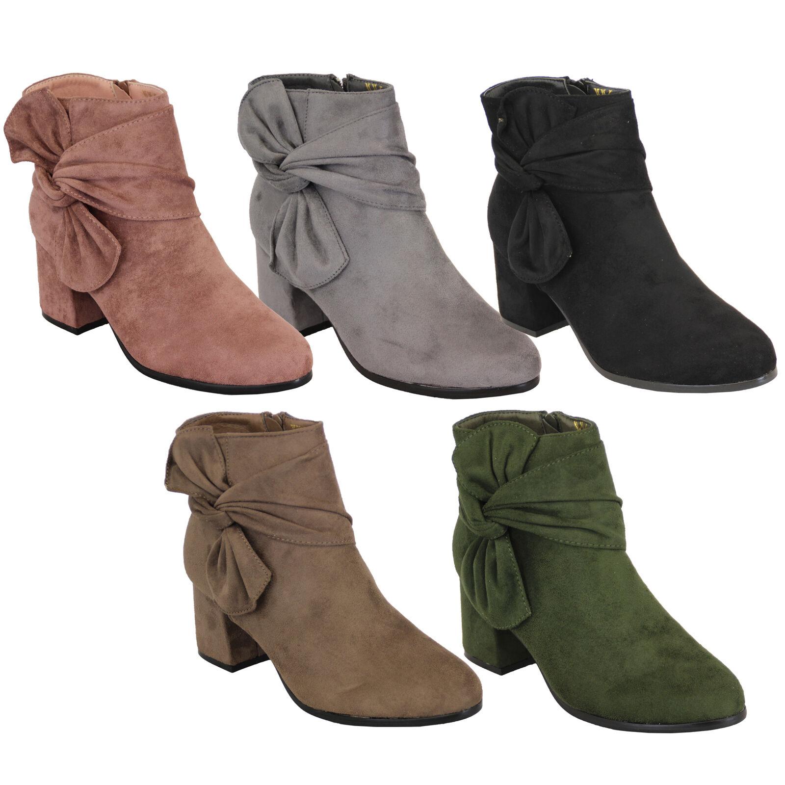 Ladies Chelsea Ankle botas Suede Look Block Winter Heel Bow Warm Fashion Winter Block New 969af4