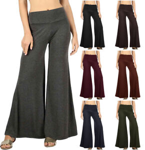 Soft-PREMIUM-FABRIC-High-Waist-Wide-Leg-Palazzo-PANTS-S-XL