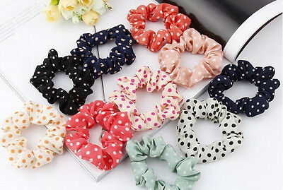10Pcs Ponytail Holder Women Hair Band Accessories Elastic Dot Lace Rope Random
