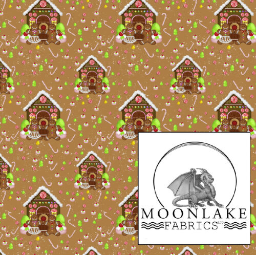 Gingerbread House Christmas 100/% Quality Cotton Poplin Fabric Exclusive *