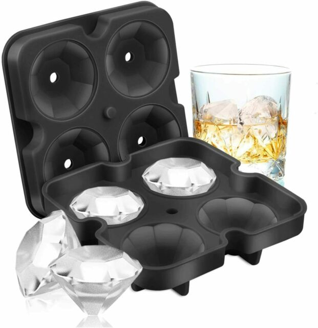 3D Diamond Shape 4 Large Ice Balls Cube Mold Maker Silicone Trays for Bar Party