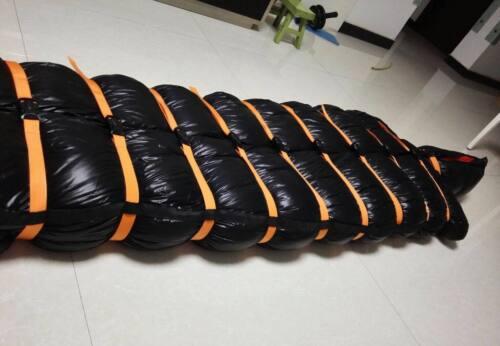 Shiny wetlook nylon tie closed mummy down binding bound bundle sleeping bag warm