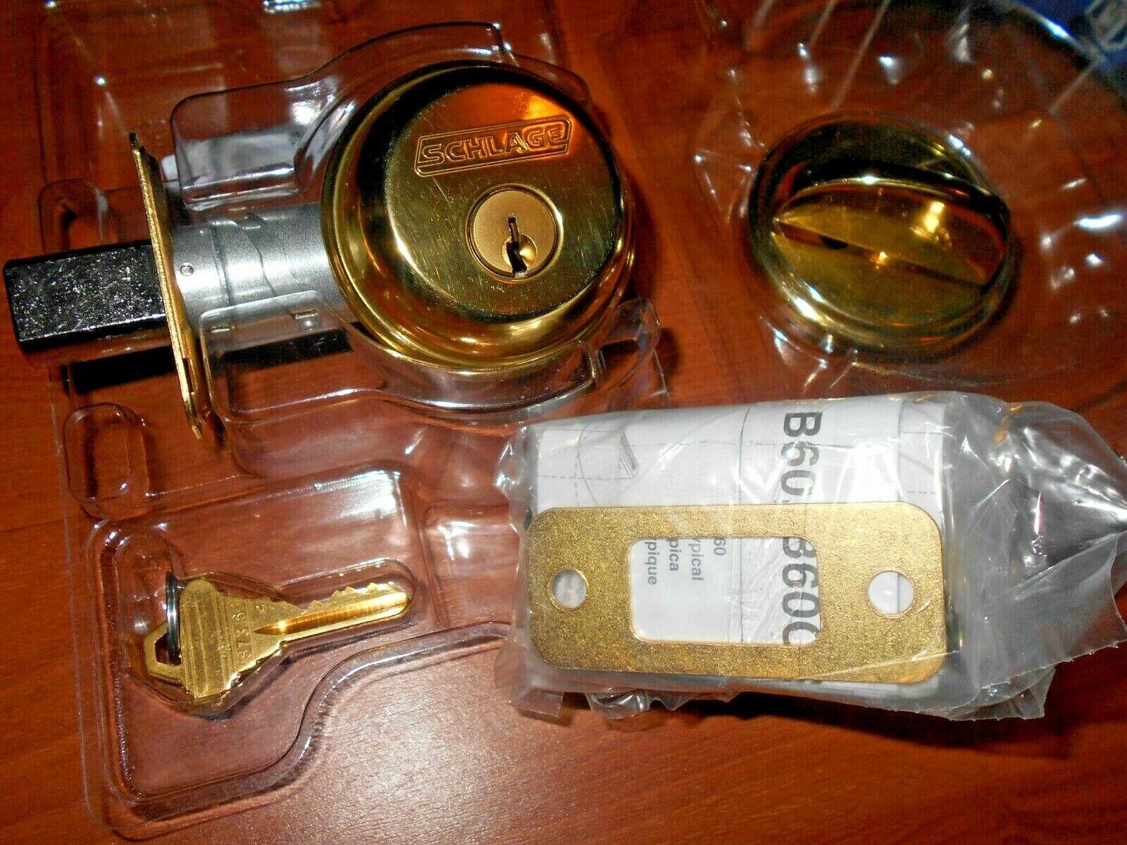 Bright Brass SCHLAGE CO B60N505 Single Cylinder Deadbolt Door Lock