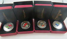 M-1 2007-08 SET OF 4 COLOURED BIRD 25 CENTS ROYAL CANADIAN MINT  SEE PICTURES